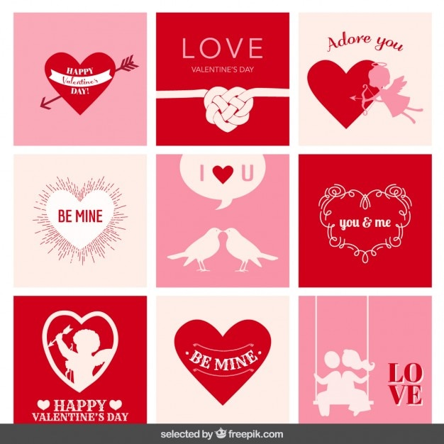 バレンタインカードのコレクション 無料ベクター