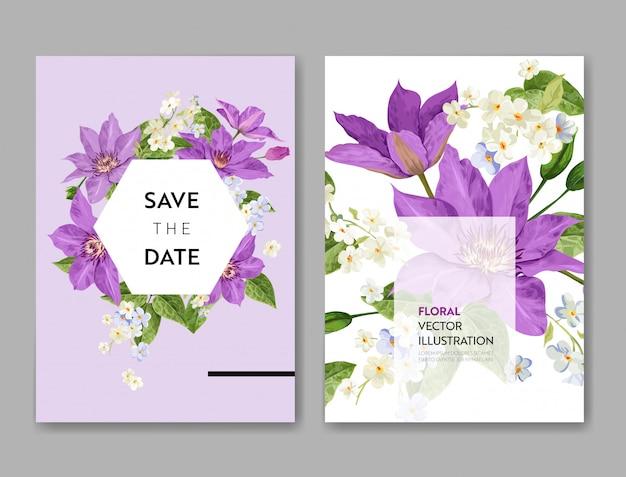 花とヤシの葉の結婚式の招待状のテンプレート。熱帯の花日付カードを保存します。 Premiumベクター