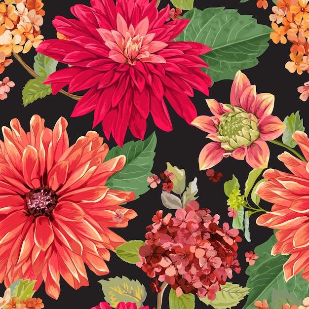 赤アスターの花の背景とのシームレスな花柄 Premiumベクター