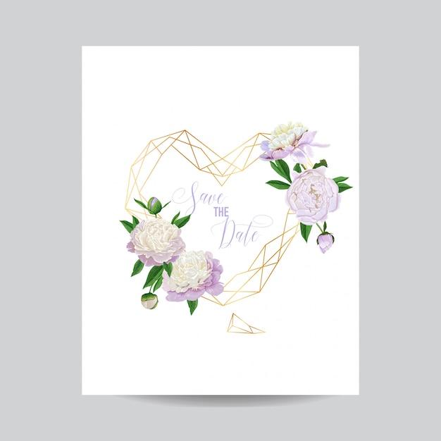 結婚式の招待カード花のテンプレート日付を保存 Premiumベクター