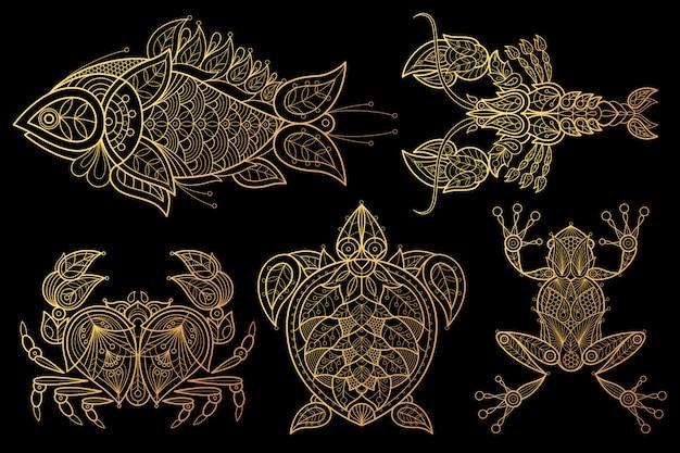 Набор животных рыб, лобстеров, крабов, морских черепах, лягушек Premium векторы