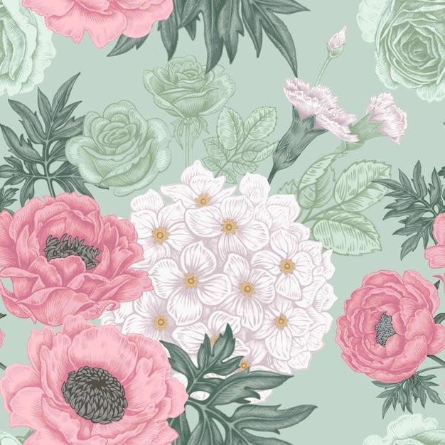 Бесшовный фон с цветами роз, пионов, гортензий, карнат Premium векторы