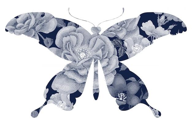 花のシルエットの蝶。 Premiumベクター