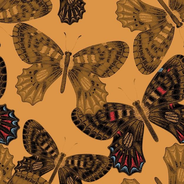 Бесшовный фон с бабочками. Premium векторы