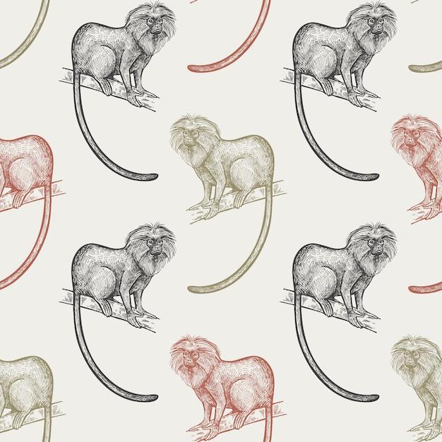 Бесшовный фон с обезьянами. Premium векторы