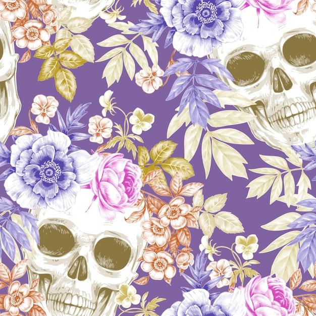 花と頭蓋骨のシームレスなビンテージパターン Premiumベクター