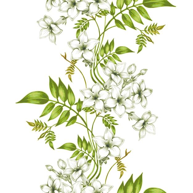 ジャスミンの花を持つベクトルシームレス花柄。 Premiumベクター