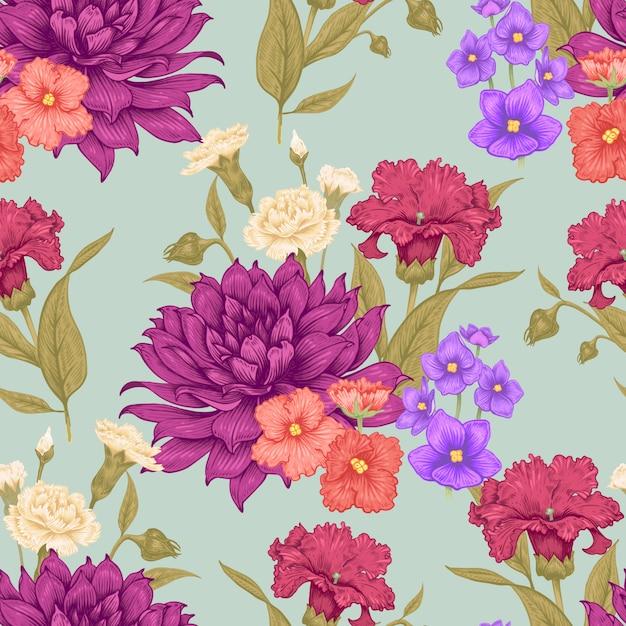 シームレスなベクターの花柄のパターン。 Premiumベクター