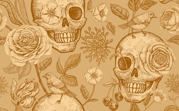 Цветочный фон с символами дня мертвых с черепами, розовыми цветами, тюльпанами и птицами. Premium векторы