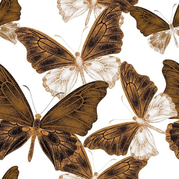 蝶とのシームレスなパターン。 Premiumベクター