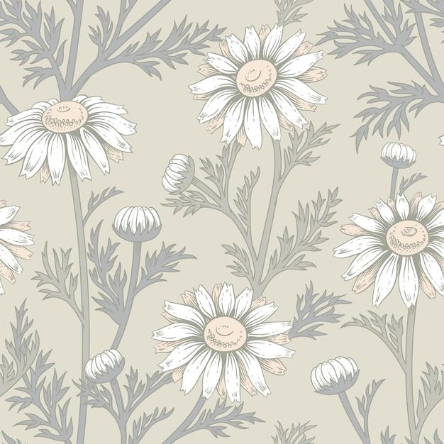 カモミールの花とのシームレスなパターン。 Premiumベクター