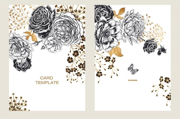結婚式の招待状は、花牡丹とカードをテンプレートします。 Premiumベクター