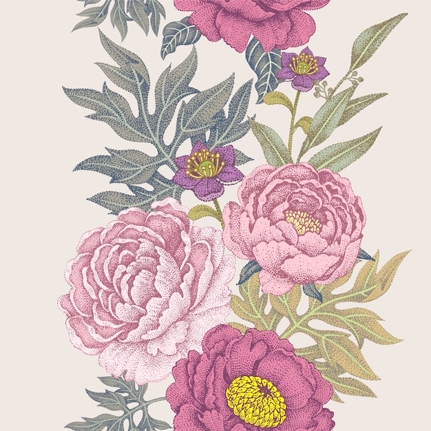 Бесшовный фон с цветами роз, пионов. Premium векторы