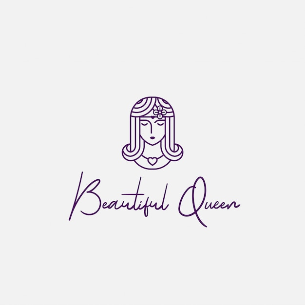 Логотип красивая королева с линией в стиле арт Premium векторы