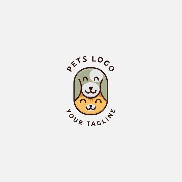 Логотип кота и собаки Premium векторы