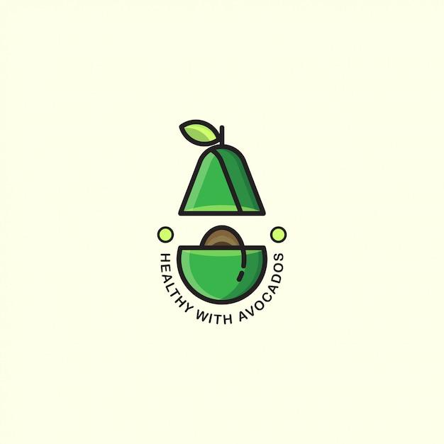 Иконка логотипа авокадо с жирной линией Premium векторы