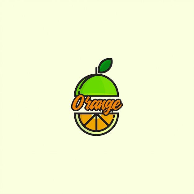 Значок логотип оранжевый с жирной линией Premium векторы