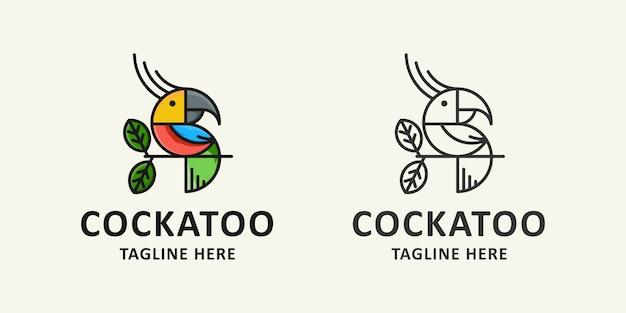鳥とアイコンのロゴ Premiumベクター
