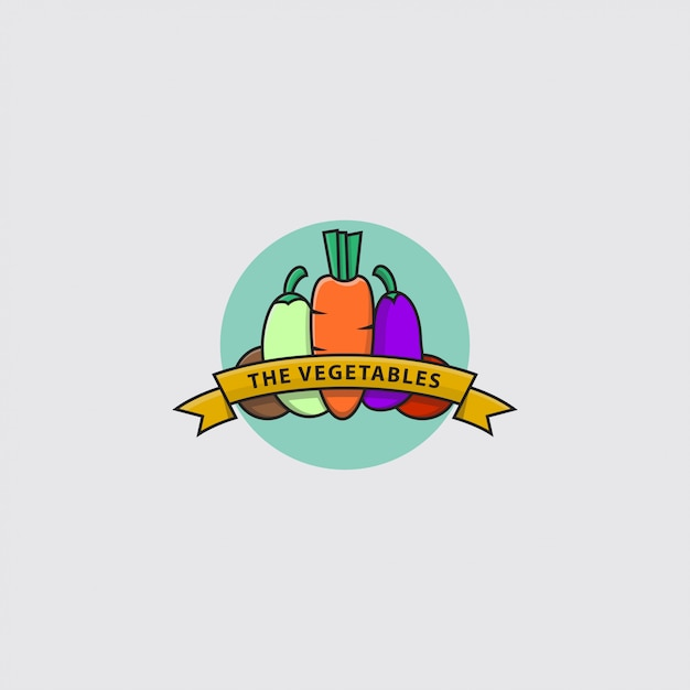 Логотип различных видов овощей Premium векторы