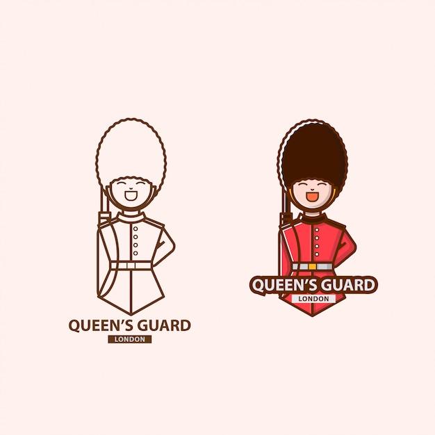 Логотип королевы гвардии в лондоне Premium векторы