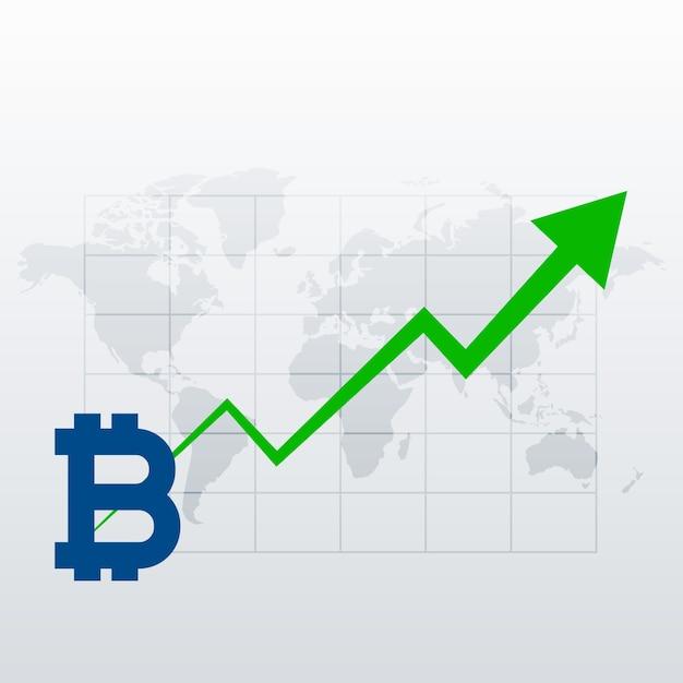 ビットコイン上昇トレンド成長チャートベクトル 無料ベクター