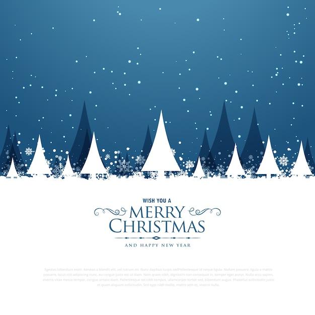 木と落ちる雪とメリークリスマスの冬の風景のシーン 無料ベクター