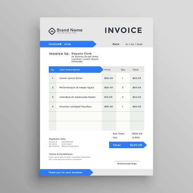 Дизайн синего серого векторного шаблона счета Бесплатные векторы