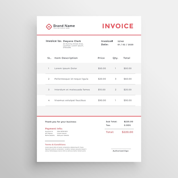 Минимальный шаблон оформления бизнес-счета Бесплатные векторы