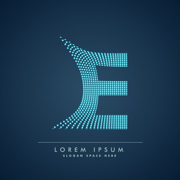 Волнистые буква е логотип в абстрактном стиле Бесплатные векторы