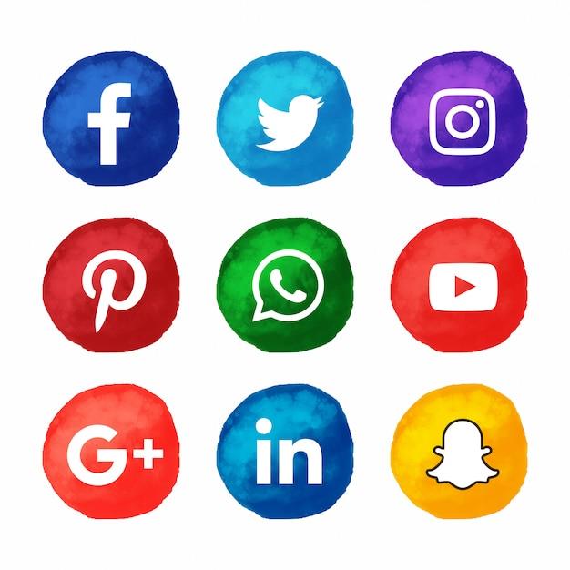 Акварельный стиль популярных социальных сетей иконок Premium векторы