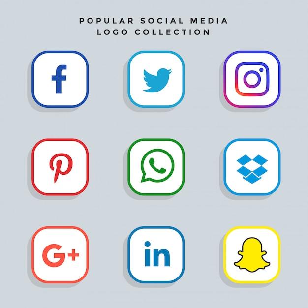 Набор значков сети социальных сетей Бесплатные векторы