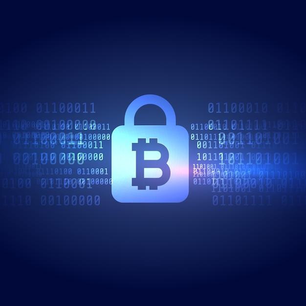 保護されたロックの形状の背景を持つデジタルビットコインシンボル 無料ベクター