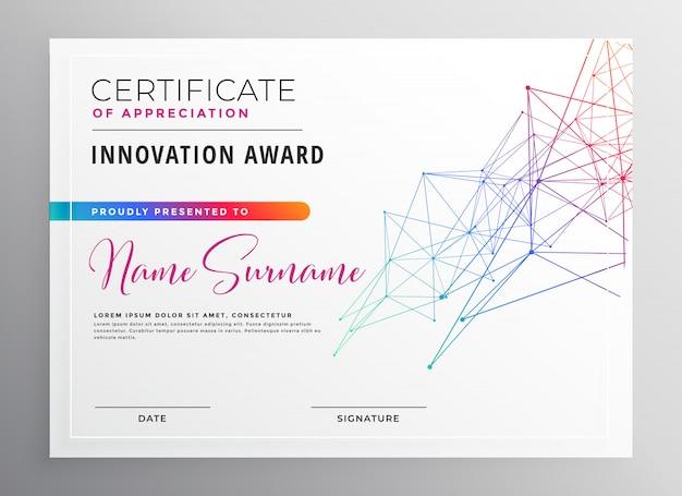 Шаблон творческого красочного сертификата Бесплатные векторы