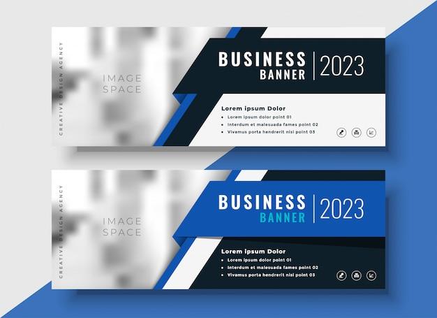 Профессиональные синие бизнес-баннеры с пространством изображений Бесплатные векторы