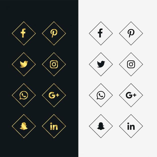 Набор золотых и черных значков социальных сетей Бесплатные векторы