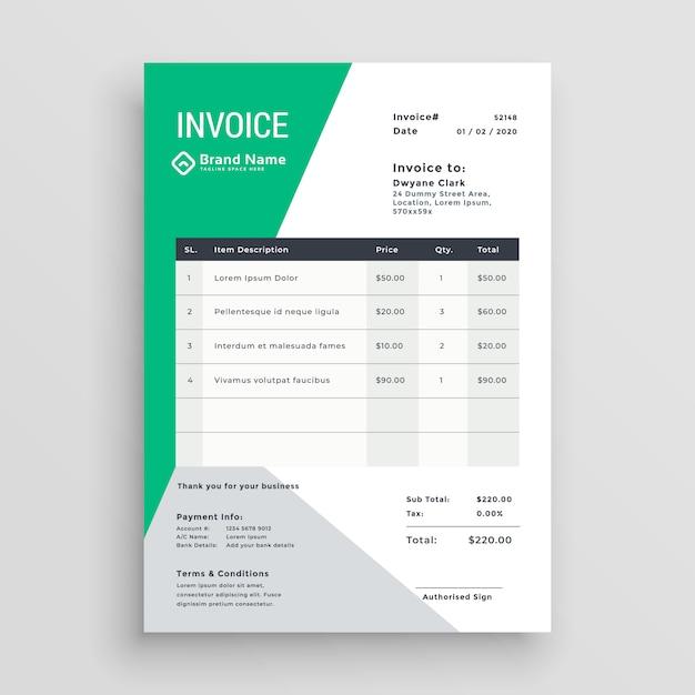 創造的な緑の請求書のテンプレートデザイン 無料ベクター