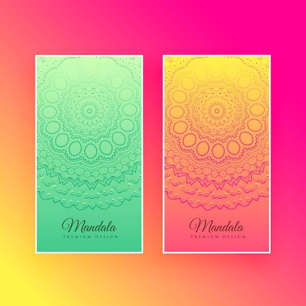 カラフルな曼荼羅デザインの縦型カード 無料ベクター