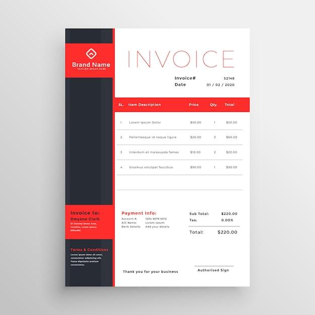 抽象的な赤いテーマのビジネスインボイステンプレートデザイン 無料ベクター