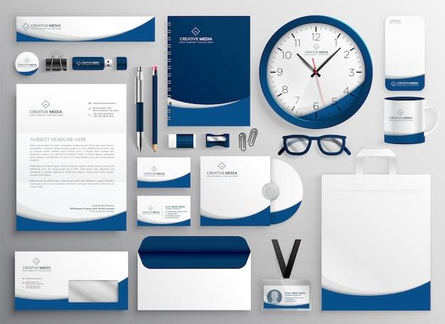 近代的な青のプロのビジネス文具セット 無料ベクター