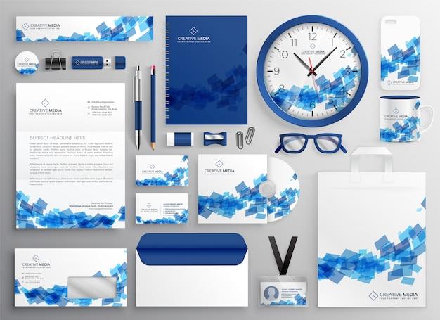 抽象的な青いビジネスの担保セットのデザイン 無料ベクター
