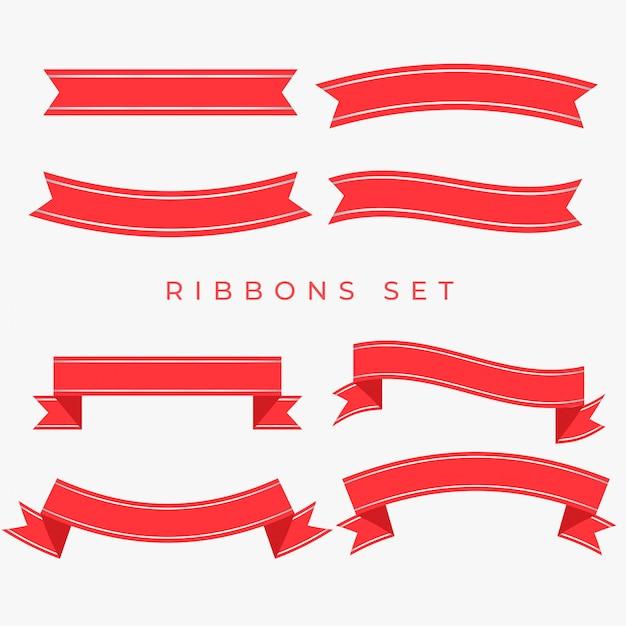 フラット赤いリボンの装飾セット 無料ベクター