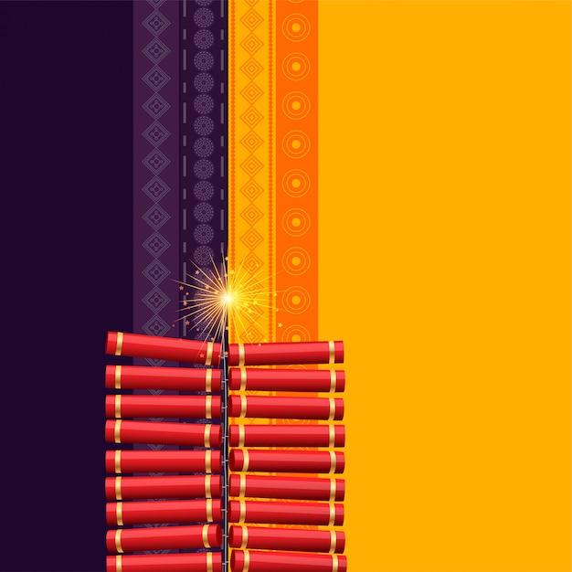 ヒンズー教のディワリ祭りクラッカーの背景 無料ベクター