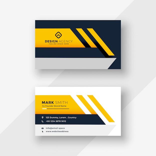 エレガントな黄色の幾何学的な名刺デザイン 無料ベクター