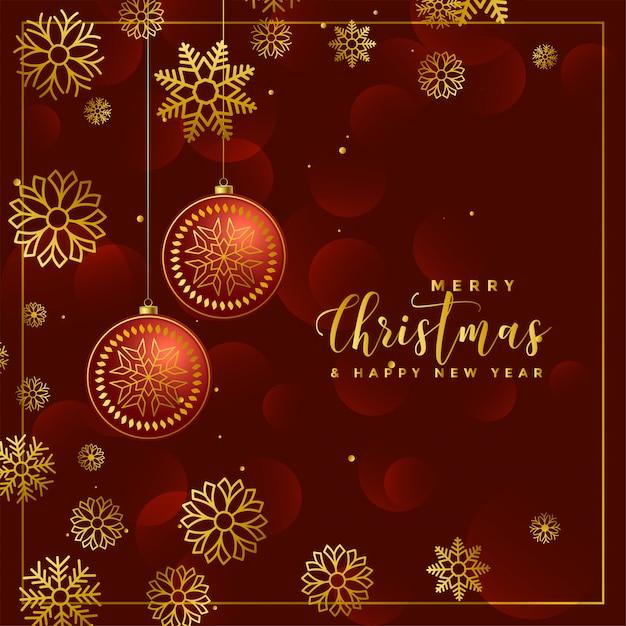 豪華なクリスマスのボールと雪片の装飾の背景 無料ベクター