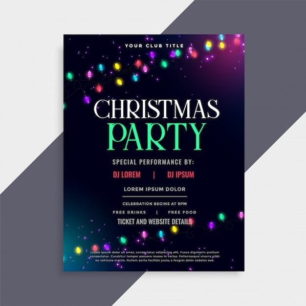 クリスマスパーティーポスターデザイン、装飾ライト付き 無料ベクター