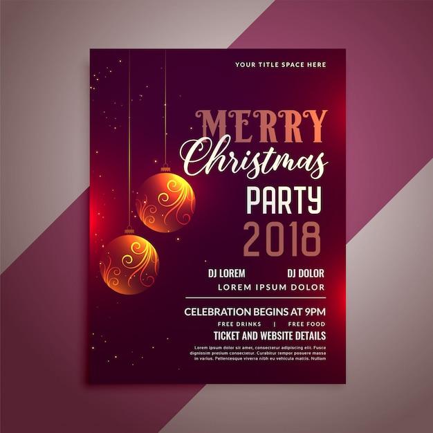 クリスマスパーティーのお祝いのフライヤーデザインテンプレート 無料ベクター