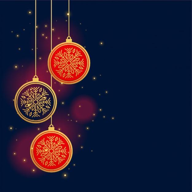 Подвески рождественские украшения шары фон Бесплатные векторы