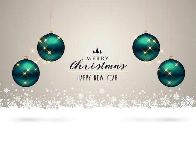 ボールと雪片の装飾とクリスマスの背景 無料ベクター
