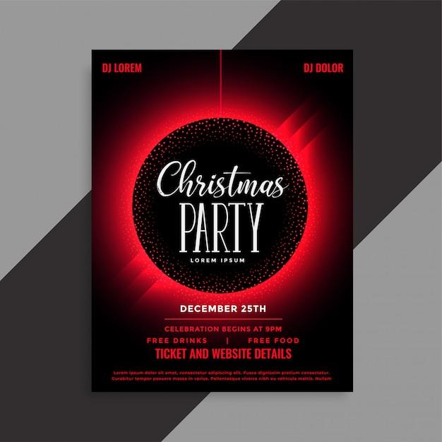 クリスマスパーティーイベント招待状テンプレート 無料ベクター