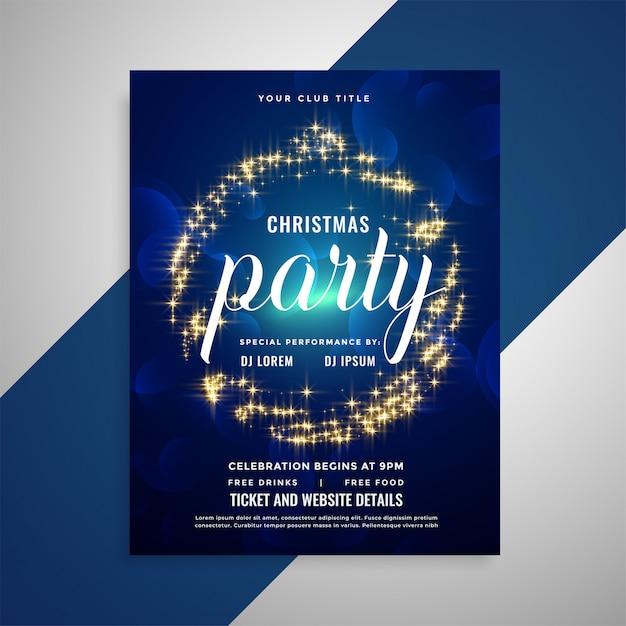 キラキラ輝くクリスマスパーティーポスターフライヤーテンプレートデザイン 無料ベクター